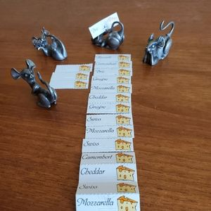 Pewter Mice Cheese Tags
